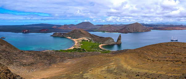 HDR Panorama of Sullivan Bay from the Peak of Bartolomé Island